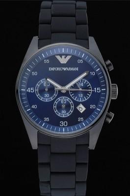 Emporio Armani Sportivo Chronograph Blue Dial Ion-plated Case Black Bracelet 622347 Replica Armani Watch