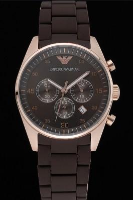 Emporio Armani Sportivo Chronograph Brown Dial Gold Case Brown Bracelet 622346 Replica Armani Watch