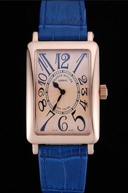 Franck Muller Long Island Classic Gold Dial Gold Case Blue Leather Band 622367 Franck Muller Fake