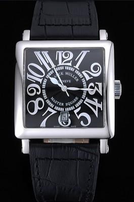 Franck Muller Master Square Black Dial Silver Case Black Leather Band 622353 Franck Muller Replica Watch