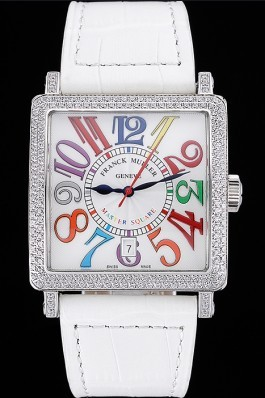 Franck Muller Master Square Color Dreams Diamonds Case White Leather Band 622356 Franck Muller Replica Watch