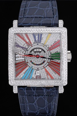 Franck Muller Master Square Color Dreams Diamonds Dial Diamonds Case Blue Leather Strap 622359 Franck Muller Replica Watch