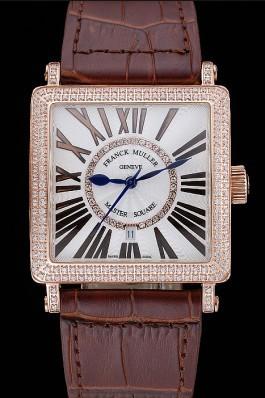 Franck Muller Master Square Diamond Encrusted Rose Gold Bezel Brown Croco Bracelet 80283 Franck Muller Replica Watch