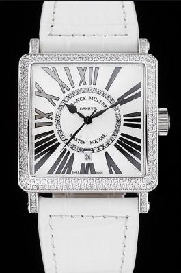 Franck Muller Master Square Diamond Encrusted Stainless Steel Bezel White Croco Bracelet 80284 Franck Muller Replica Watch