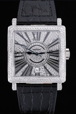 Franck Muller Master Square Diamonds Dial Diamonds Case Black Leather Band 622358 Franck Muller Replica Watch