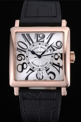 Franck Muller Master Square White Dial Gold Case Black Leather Band 622354 Franck Muller Replica Watch