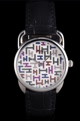 Hermes Classic Croco Leather Strap Multicolor Patterned Logo Dial 801407 Hermes Replica Watches