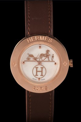 Hermes Classic MOP Dial Brown Leather Bracelet 801389 Hermes Replica Watches