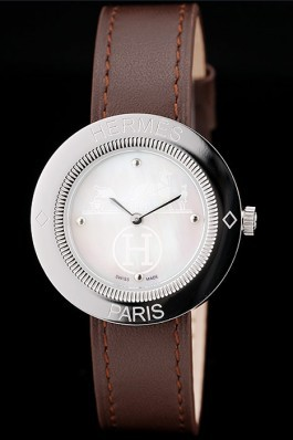Hermes Classic MOP Dial Brown Leather Strap Hermes Replica Watches