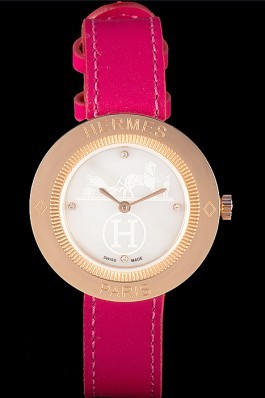Hermes Classic MOP Dial Magenta Leather Bracelet 801388 Hermes Replica Watches