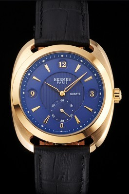 Hermes Dressage Blue Dial Gold Case Black Leather Strap Hermes Replica Watches