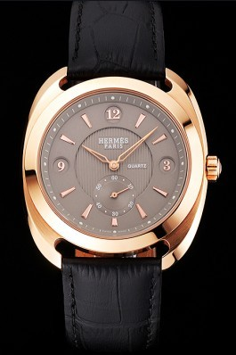 Hermes Dressage Light Brown Dial Rose Gold Case Black Leather Strap Hermes Replica Watches