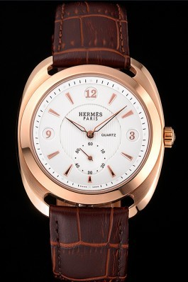 Hermes Dressage White Dial Rose Gold Case Brown Leather Strap Hermes Replica Watches
