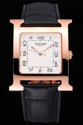 Hermes Heure H White Dial Gold Case Black Leather Strap Hermes Replica Watches