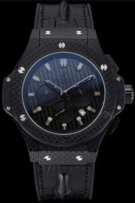 Hublot Big Bang Carbon Dial Carbon Case And Bezel Black Leather Strap 622773 Replica Watch Hublot