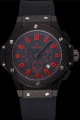Hublot Big Bang Carbon Dial With Red Markings Carbon Case And Bezel Black Rubber Strap 622775 Replica Watch Hublot