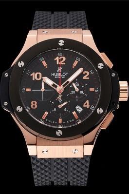 Hublot Big Bang King Black Strap Gold Dial Watch Replica Watch Hublot
