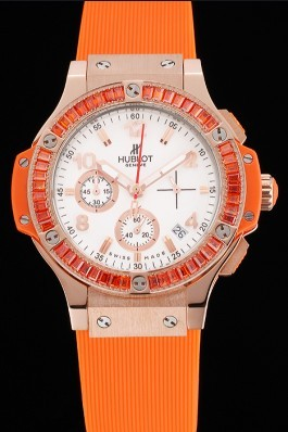 Hublot Big Bang Tutti Frutti Orange Strap Gold Dial Replica Watch Hublot