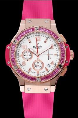 Hublot Big Bang Tutti Frutti Pink Strap Gold Dial Replica Watch Hublot