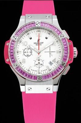 Hublot Big Bang Tutti Frutti Pink Strap White Dial Replica Watch Hublot