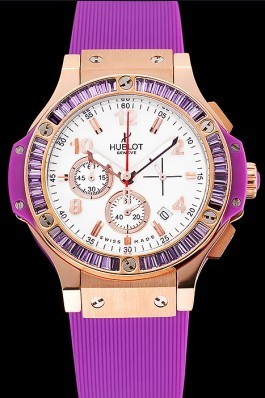 Hublot Big Bang Tutti Frutti Purple Strap Gold Dial Replica Watch Hublot
