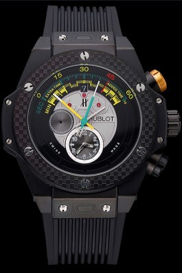 Hublot Big Bang Unico Bi-Retrograde Chrono King Black Steel Case Black Rubber Strap 622771 Replica Watch Hublot