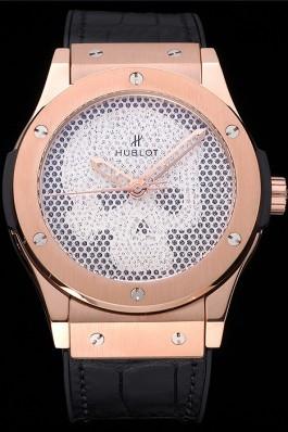 Hublot Classic Fusion Diamond Skull Dial Gold Case Black Leather Strap 622816 Hublot Replica Watch