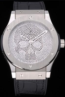 Hublot Classic Fusion Diamond Skull Dial Stainless Steel Case Black Leather Strap 622814 Hublot Replica Watch