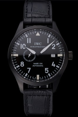 IWC Mark XVll Black Dial Black Stainless Steel Case Black Leather Strap Iwc Replica