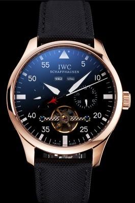 IWC Pilot Perpetual Calendar Black Dial Rose Gold Case Black Textile Strap Iwc Replica