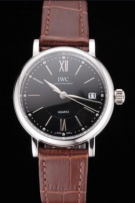 IWC Portofino Black Dial Stainless Steel Case Brown Leather Strap Iwc Replica