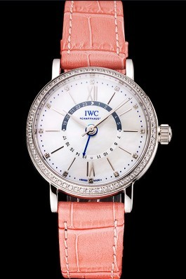 IWC Portofino Day And Night White Dial Stainless Steel Case Pink Leather Strap Iwc Replica