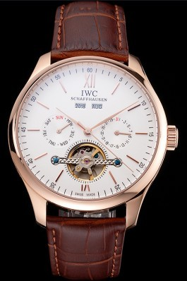 IWC Portofino Tourbillon White Dial Rose Gold Case Broen Leather Strap Iwc Replica