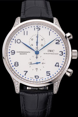 IWC Portugieser Chronograph White Dial Blue Hands And Numerals Steel Case With Diamonds Black Leather Strap Iwc Replica