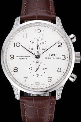 IWC Portugieser Chronograph White Dial Steel Hands And Numerals Steel Case With Diamonds Brown Leather Strap Iwc Replica