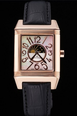 Jaeger le Coultre Reverso Squadro Lady Black Leather Strap Pearl Dial 41966 Le Couture Watch Replica