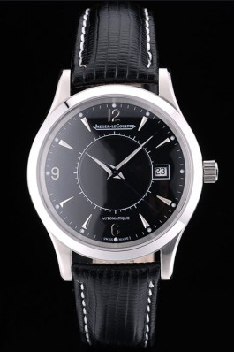 Jaeger Le Coultre Swiss Master Control Stainless Steel Bezel Black Leather Strap 7593 Le Coultre Watch