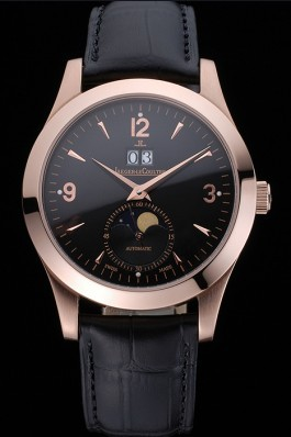 Jaeger LeCoultre Master Black Dial Black Leather Band Stainless Steel Bezel 622081 Le Coultre Watch