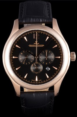 Jaeger Lecoultre Master Chronograph Gold Bezel Black Leather Band 621619 Le Coultre Watch