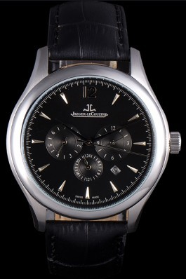 Jaeger Lecoultre Master Chronograph Silver Bezel Black Leather Band 621620 Le Coultre Watch