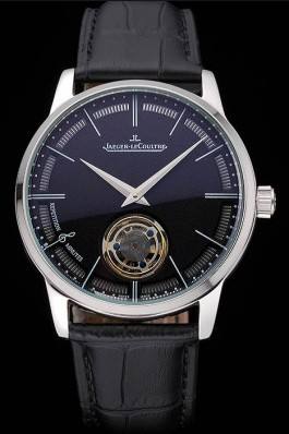Jaeger-LeCoultre Master Flying Tourbillon Black Dial Stainless Steel Case Black Leather Strap 622777 Le Coultre Watch