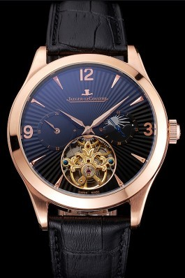 Jaeger LeCoultre Master Moonphase Tourbillon Black Dial Rose Gold Case Black Leather Strap Le Coultre Watch