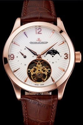 Jaeger LeCoultre Master Moonphase Tourbillon White Dial Rose Gold Case Brown Leather Strap Le Coultre Watch