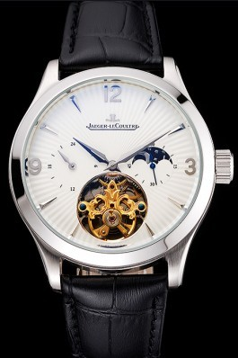 Jaeger LeCoultre Master Moonphase Tourbillon White Dial Stainless Steel Case Black Leather Strap Le Coultre Watch