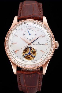 Jaeger-LeCoultre Master Tourbillon Dualtime White Dial Gold Case With Diamonds Brown Leather Strap 622782 Le Coultre Watch
