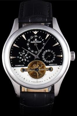 Jaeger Lecoultre Tourbillon Perpetuel Silver Bezel Black Leather Band 621614 Le Coultre Watch