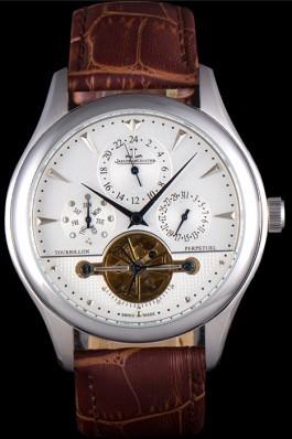 Jaeger Lecoultre Tourbillon Perpetuel Silver Bezel Brown Leather Band 621617 Le Coultre Watch