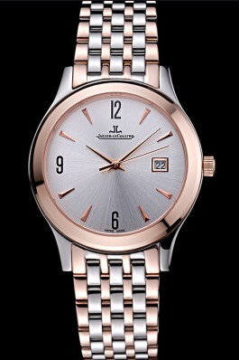 Jaeger LeCoultre Master White Dial Rose Gold Bezel Two Tone Band 622090 Le Coultre Watch