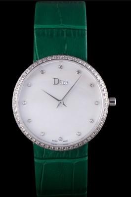 La D de Dior Green Leather Strap with White Dial 621507 Replica Christian Dior