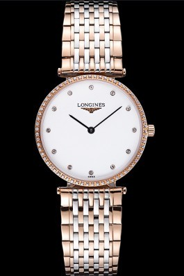 Longines La Grande Classique Rose Gold White Dial Diamond Bezel Homme 622105 Replica Longines Classic